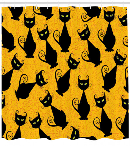 Cat Pattern for Halloween Fall Season Decoration Image Print Shower Curtain Set
