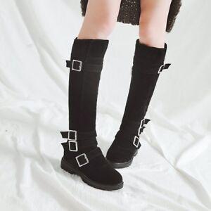 4cae941b0b5 Details about Plus Size Women Biker Women Flats Buckle Strap Wide Calf High  Leg Knee Boots New