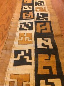 genuine-9-feet-African-Congo-Kuba-Raffia-cloth-fabric-natural-woven-handmade