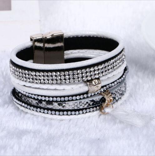 Fashion Femmes multicouche en Cuir Strass Cristal Perles Wrap Bracelet Breloque