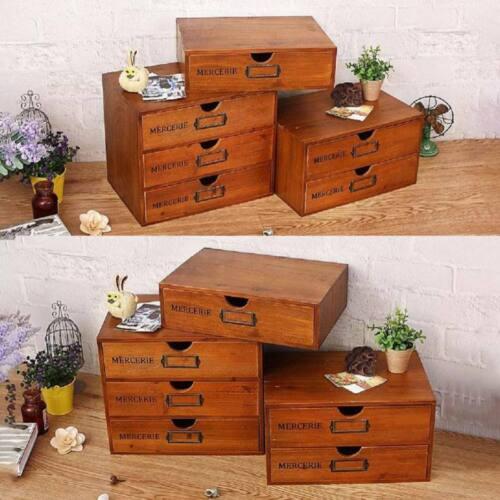 Retro Wooden Storage Drawers Desktop Cabinet Jewelry Makeup Organizer 1-3 Layers