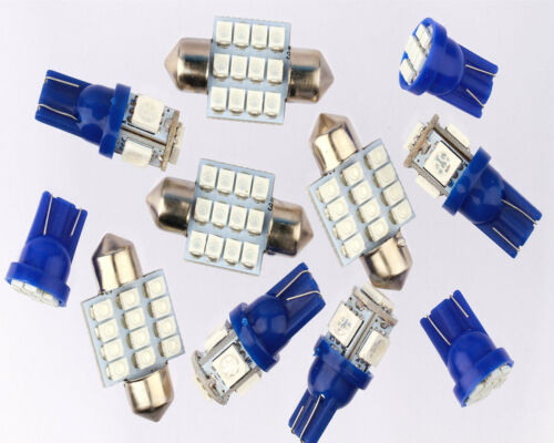 License Plate 11PCS Blue LED Lights Interior Package for T10 /& 31mm Map Dome