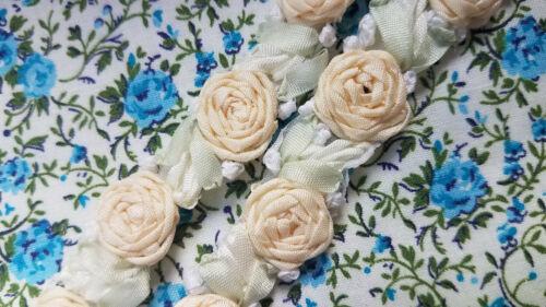 Vintage Ribbonwork Rosettes Floral ribbon trim BTY yard peach tiny flowers roses