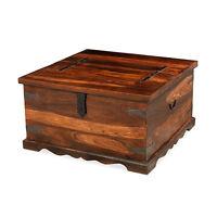 Madras Solid Sheesham Wood Jali Square Blanket Box Storage Trunk Coffee Table