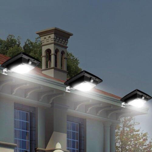 Solar Powered 6 SMD LED Motion Sensor Gutter Door Wall Fence Lights Lamps Black