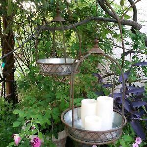 Antique Cottage Style Metal Wire Hanging Orb Basket Planter Cages Set of 2