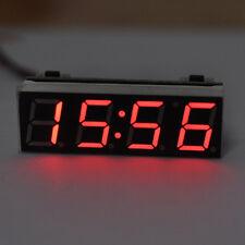 Car Auto 12V 24V Digital LED Electronic Time Clock + Thermometer + Voltmeter New
