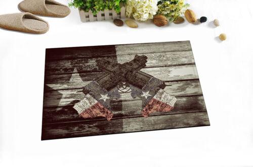 """Rusty Texas Gun Flag Wooden Non-Slip Bathroom Carpet Bath Mat Rug Carpet 24x16/"""""""