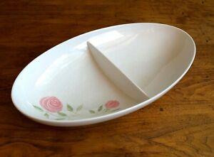 "Vintage Franciscan Pink A Dilly Divided Oval Vegetable Serving Bowl 11"" C227"