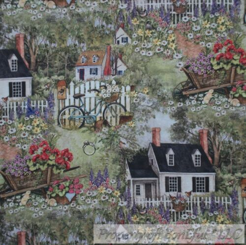 BonEful FABRIC FQ Cotton Quilt VTG Rainbow Garden Color Scenic Flower House Bike