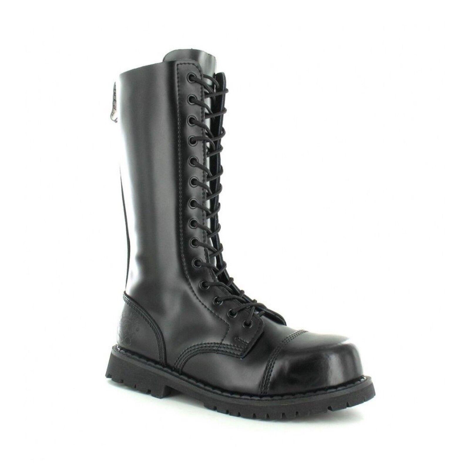 Grinders neri Alta Ranger Combat Stivali neri Grinders in pelle in acciaio di sicurezza Cap 14 occhielli Punk 8961b3