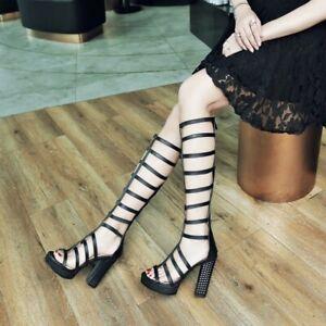 Womens-Hollowed-Open-Toe-Knee-High-Boots-Sandals-Platform-High-Heels-Shoes-Sz