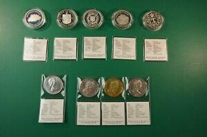 9x-Silber-Muenzen-5x-25-Pence-4x-1-Crown-je-925-1000-PP-Grossbritannien-Z-1461