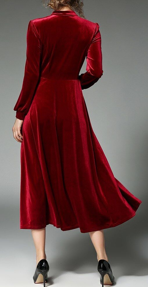 Elegante vestito abito lungo lungo lungo rosso velluto tubino slim maniche lunghe slim 3189 e0f53c