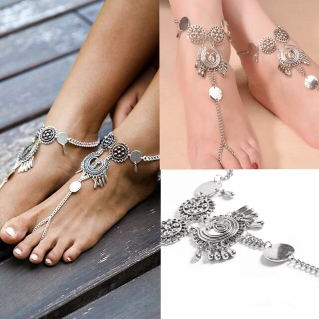 Womens Retro Boho Barefoot Sandal Beach Anklet Foot Chain Jewelry Ankle Bracelet
