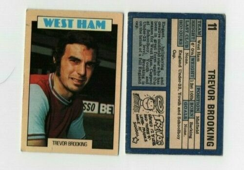 A/&BC 1973 Football card with blue back 11 Trevor Brooking West Ham United