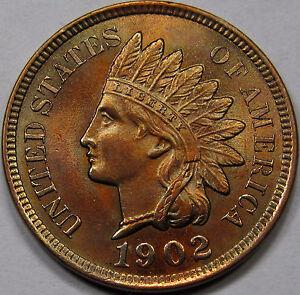1902-Indian-Head-Cent-Superb-Gem-BU-RB-Almost-Proof-Like-Original-amp-Nice