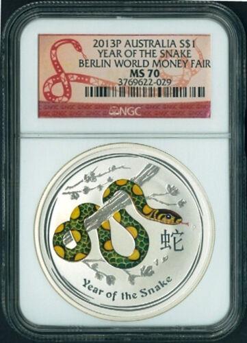 2013 P Australia Silver Lunar year SNAKE GREEN Berlin Fair NGC MS 70 1 oz Coin R