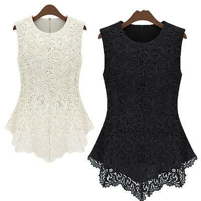 Fashion New Women's Sleeveless Crew Collar Lace Peplum Blouse Top Vest Shirts