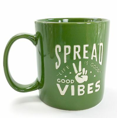 Life Is Good Spread Good Vibes Coffee Mug Jakes Grassy Green Hand Peace Sign