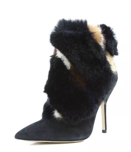 Women's Paul Andrew Shoes 9012 BOWERY Ankle Boots Rabbit Fur Suede Size 39