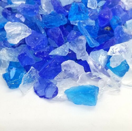 """1/"""" Premium Large Fire Glass for Fireplace and Fire Pit Blue /& Clear Blend 1//2/"""""""