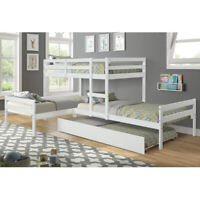 Modern-Depo Bunk Beds with Trunle Twin Size L Shaped White Beds Deals