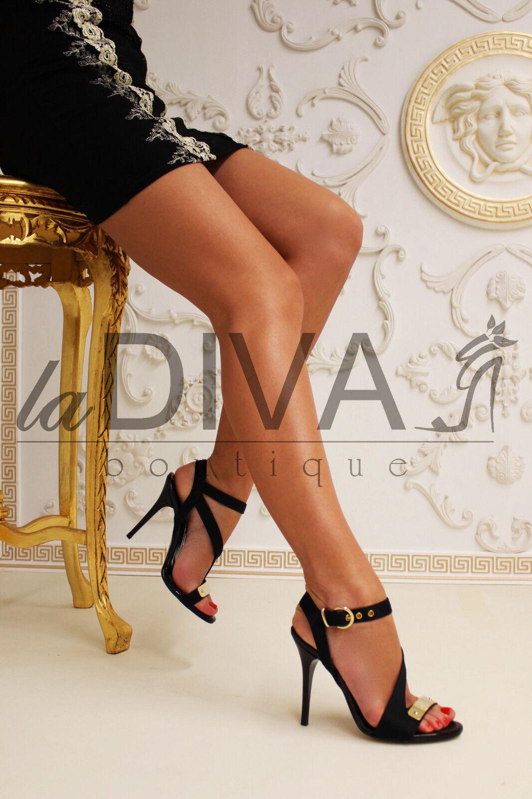NILA & satin NILA ~ italy sandali satin & pelle pannello in metallo 39 Nero Oro Tacchi e05035