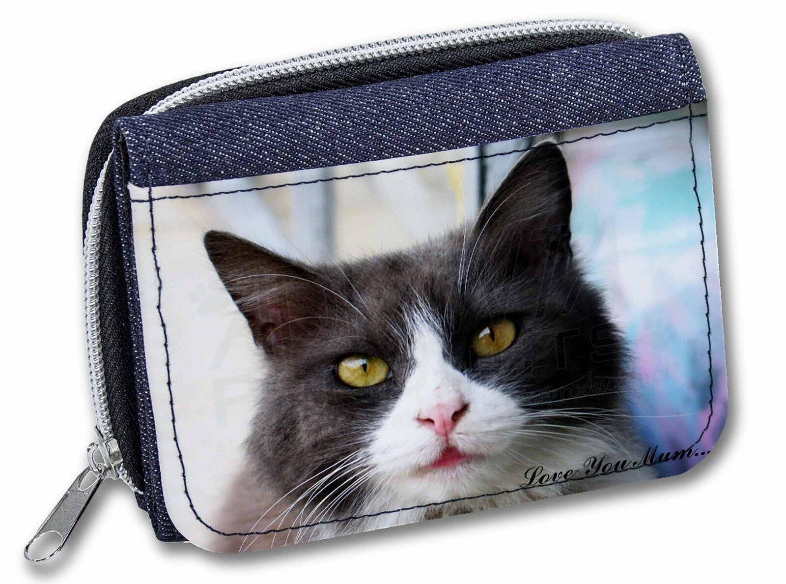 Black and White Cat 'Love You Mum' Girls/Ladies Denim Purse Wallet C, AC-80lymJW
