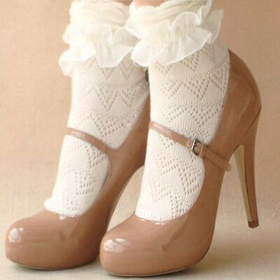 1 Pair Princess Style Beautiful Lace Ruffle Frilly Ankle Short Socks White Color