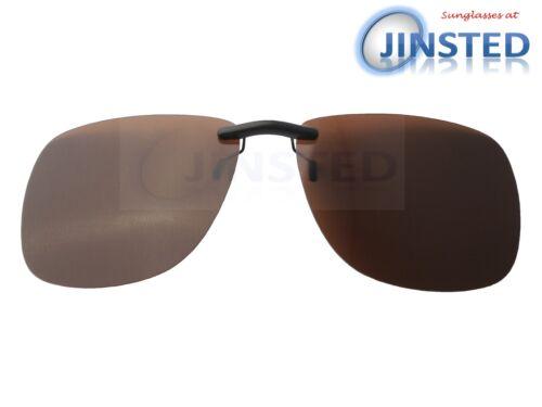 Large Premium Quality Brown Clip Sunglasses Large Polarised Lens Sunnies ACP038