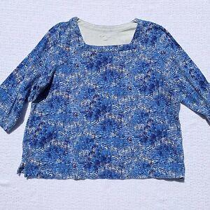 Kim-Rogers-Woman-Plus-2X-Blue-White-Shirt-Top-Tunic-Blouse-3-4-Sleeves