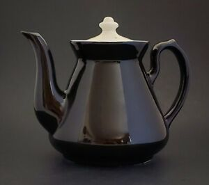 Hall-China-Teapot-Coffee-Pot-Dark-Brown-with-White-Lid-Gooseneck-Spout