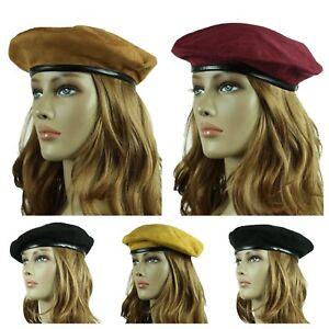b41caf8e436b6 French Beret Suede Hat Fashion Artist Hats Casual Plain Beanie Cap ...