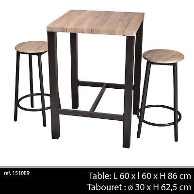 TABLE BAR APPOINT + 2 CHAISE TABOURET INDUSTRIEL BOIS ET METAL DESSERTE LOFT 896 | eBay