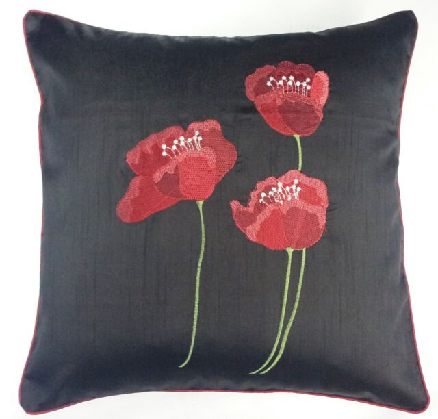 """FILLED POPPY BLACK RED  FAUX SILK FLORAL 22"""" EMBROIDERED CUSHION"""