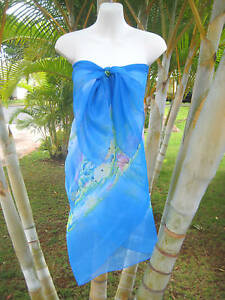 799463e892 Image is loading Sheer-Sarong-BLUE-DOLPHIN-TROPICAL-FISH-Beach-Coverup-