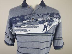Mens-Penguin-MunsingWear-Striped-Golf-Gray-Polo-Shirt-Size-Medium