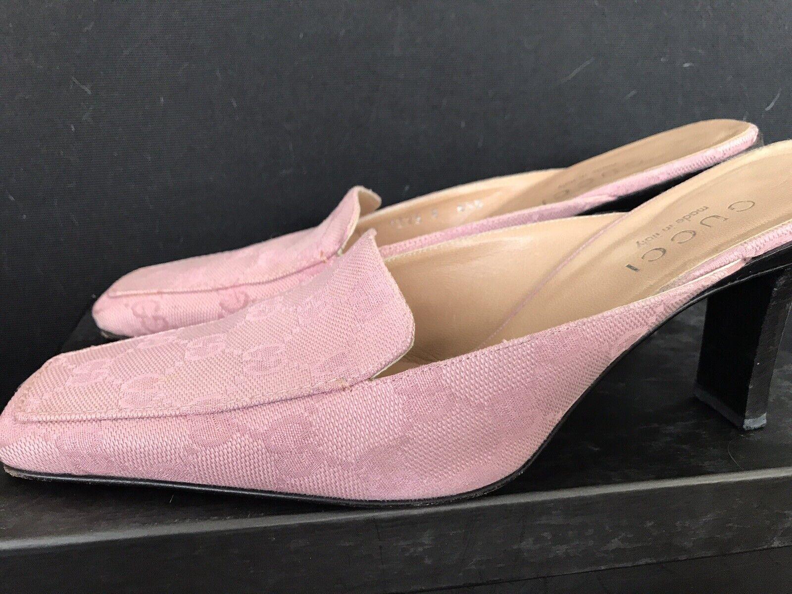 Vintage GUCCI GG Canvas Mule Classic Shoes Rosa W… - image 5