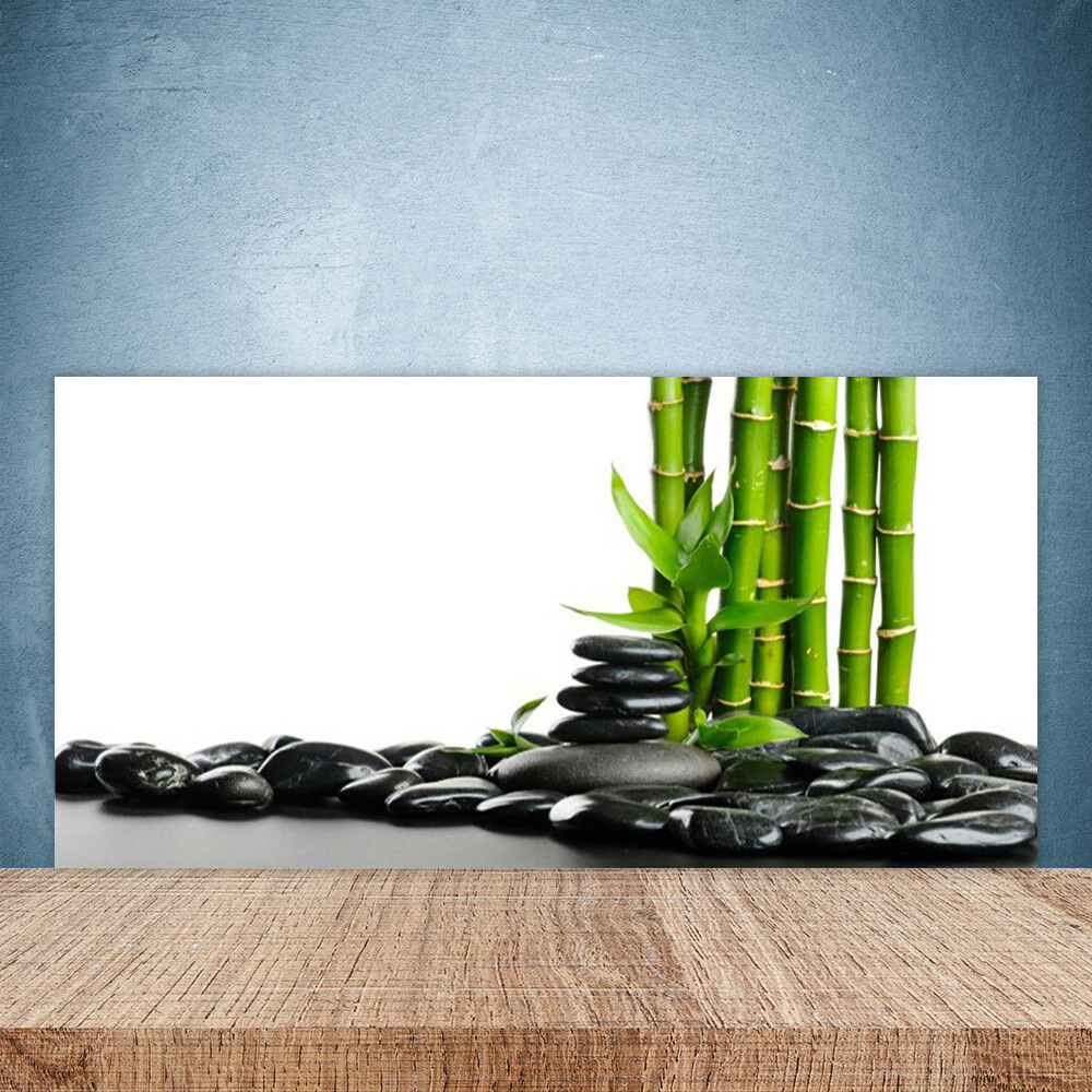 Crédence de cuisine en verre Panneau Paroi 100x50 Art Bambou Pierres