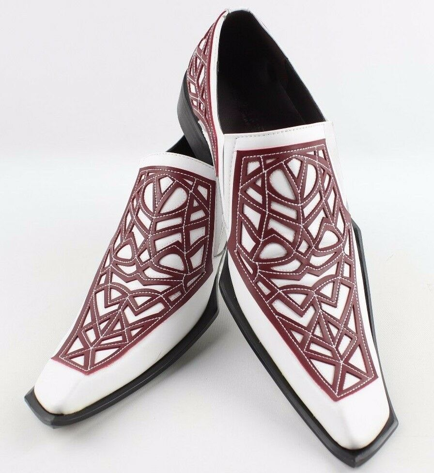 Zota Hombre único para Hombre Zota de Cuero Moda Zapatos Oxford Slip On G838-107 Blanco Rojo 3f334f