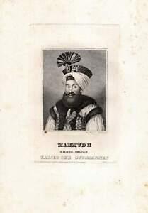 1829-Sultan-Mahmud-II-Osmanisches-Reich-Tuerken-turcica-Stahlstich-Portraet