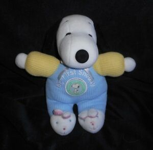 9 My First Baby Snoopy Rattle Stuffed Animal Plush Toy Doll Blue
