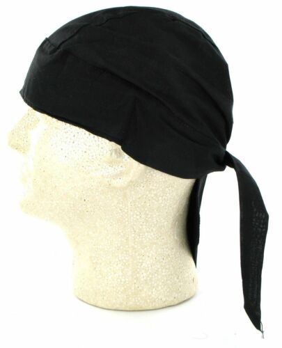 Solid Black Durag Doo Rag Skull Cap Headwrap Bikers Paintball Sports Bandanna