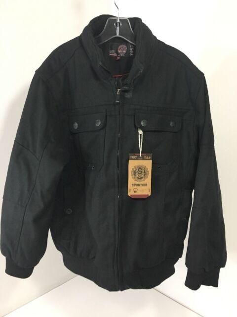 f11942f91 Sportier Men's Wool Blend Bomber Jacket Black XL