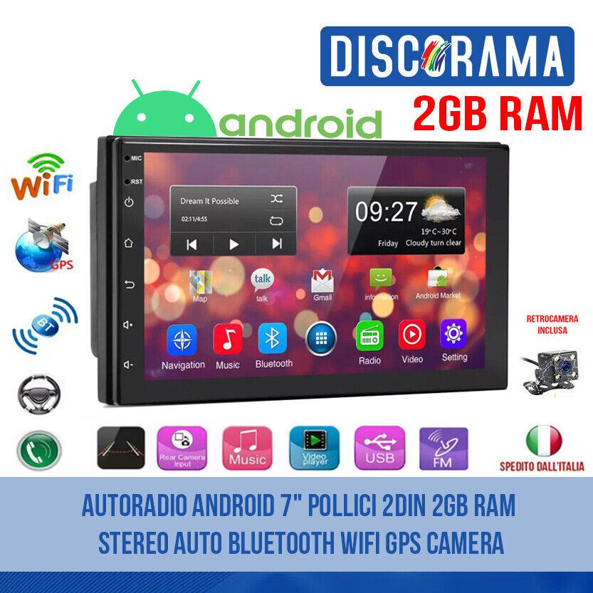 autoradio: AUTORADIO ANDROID 7″ POLLICI 2DIN 2GB RAM STEREO AUTO BLUETOOTH WIFI GPS CAMERA