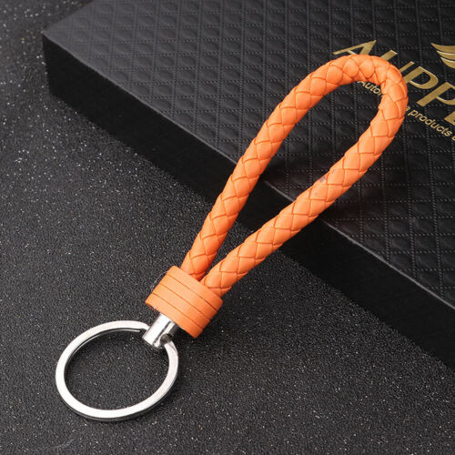 Hot Braided Leather Rope Car Bag Keychain Metal Key Ring Holder Auto Gift Lot