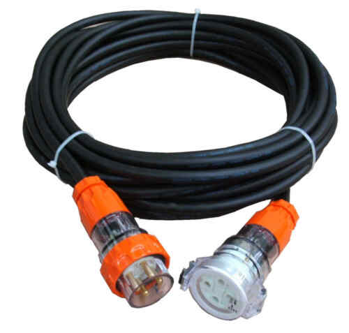 Cord CSA:4mm² with Test /& Tag Option 3Ph,4 pin,415V 32 Amp 5m Extension Lead