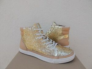 e690eefa1c3 Details about UGG GOLD GRADIE GLITTER SPARKLE LEATHER SNEAKER ANKLE BOOTS,  US 8.5/ 39.5 ~NIB