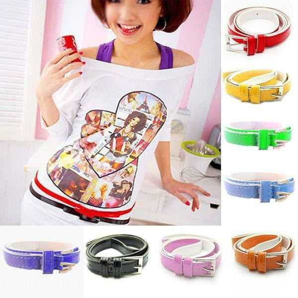 Fashion Women Girl Lady Multicolor Waistband PU Leather Thin Skinny Belt Buckle